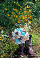 Jade/Aqua/Turquoise Burlap Bouquet, Rustic, Burlap and Lace Bridal, Bridesmaid Bouquets