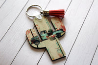 Cactus Shaped Key with vintage turquoise truck, flowers, chippy wood background and burlap