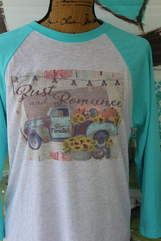Fall Rust and Romance Raglan Baseball T Shirt with rusty vintage truck and pumpkins and sunflowers