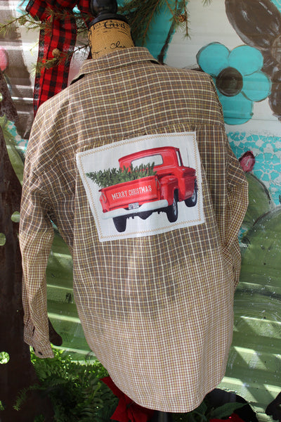 Medium Brown Plaid Distressed Shirt with Red Truck with Christmas Tree JE205