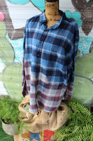 XXL Blue Flannel Shirt with Fall Rust and Romance Vintage Truck Sunflowers JE236