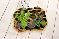 Leopard Cactus Car Air Fresheners for Essential Oils Cow Tag, Benelux, or Texas Shape
