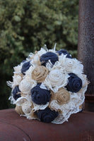 Navy Burlap and Lace Bridal Bouquet, rustic wedding bride's bouquet,