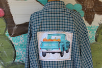 5XB Blue Plaid Shirt with vintage truck and pumpkins Happy Fall Y'all JE255