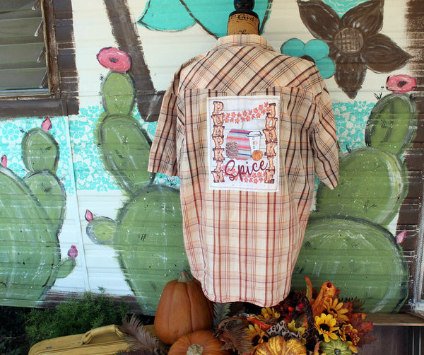 XL Pumpkin Spice Junkie Burnt Orange and Brown Distressed Short Sleeve Upcycled Shirt JE262