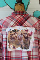 1X Distressed  Shirt Hangin' with my Heifers Upcycled Shirt, Cows and Flowers, JE277