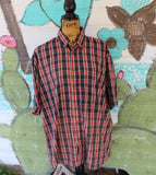 Large Vintage Soul distressed shirt with truck graphic, short sleeve plaid shirt JE280