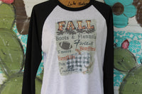 Fall Graphic T shirt with buffalo check pumpkins football and county fairs