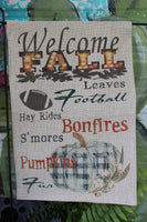 Welcome Fall garden flag with fall words, buffalo plaid pumpkin and football