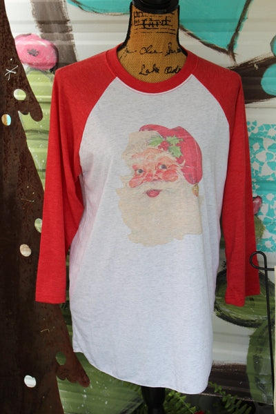 Vintage Santa Graphic Tee Shirt, Christmas Baseball Raglan T shirt-Rust and Romance