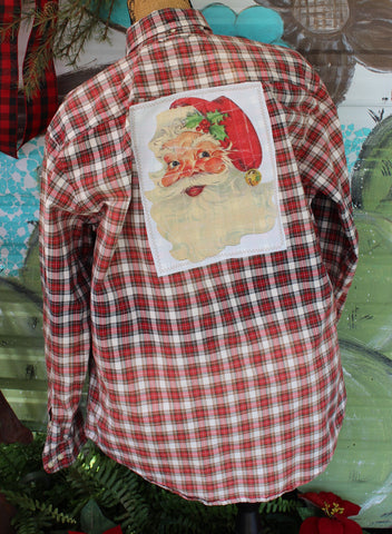 Small Vintage Santa Plaid Patchwork Shirt, Christmas shirt with Santa Claus JE189