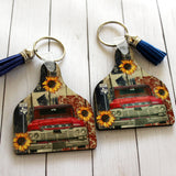Rural Route Cow Tag Shaped Key with vintage red truck, sunflowers, Texas Farm Road Sign