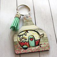 Happy Camper Cow Tag Shaped Key chain with mint tassel