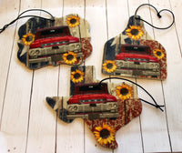 Sunflowers, Vintage Red Truck, and Flag Car Air Fresheners for Essential Oils