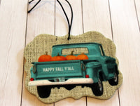 Happy Fall Y'all Truck with Pumpkins Car Air Fresheners for Essential Oils