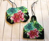 Succulent Flowers Car Air Fresheners for Essential Oils Cow Tag, Benelux, or Texas Shape