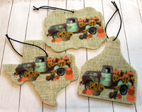 Autumn Harvest Truck with Pumpkins and Sunflowers Car Air Fresheners for Essential Oils