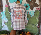 Ladies 3X  Pumpkin Spice Junkie Blue and White Distressed Plaid  Flannel Upcycled Shirt JE264