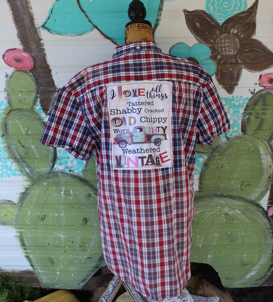 XXL Distressed Shirt with I love all things graphic and  vintage truck JE270