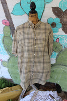 Large Linen Shirt with Vintage Soul graphic with turquoise truck, short sleeve plaid shirt JE281