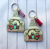 Happy Camper Cow Tag Shaped Key chain with tassel