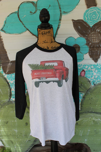 Red Truck with Christmas Tree, Merry Christmas Graphic Tee Shirt
