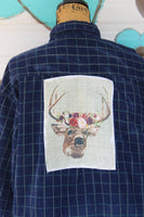 XL Distressed Blue Plaid Corduroy Shirt with Deer with Flower Crown Graphic JE299