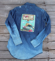 Small l Love Rust Distressed Denim Shirt
