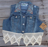 Large Denim and Lace Vest with Aztec Print Embroidery, Upcycled Denim Vest JE338