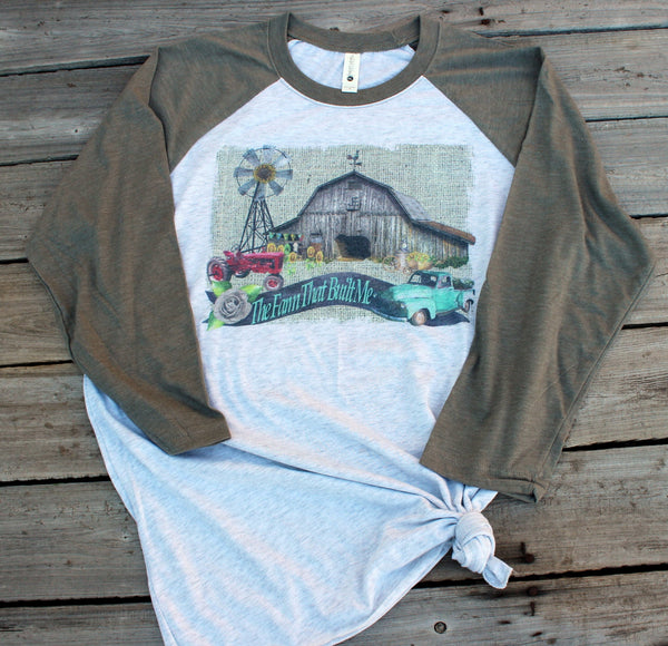 The Farm That Built Me Graphic Tee Shirt with farm scene-Rust and Romance