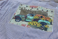 Large Plaid Shirt with lace Fall Rust and Romance Vintage Truck with Pumpkins and Sunflowers JE310