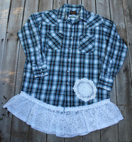 Large Pearl Snap shirt with vintage lace, turquoise and black plaid shirt JE302
