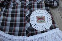 Large Pearl Snap shirt with vintage lace, red and black plaid shirt JE303