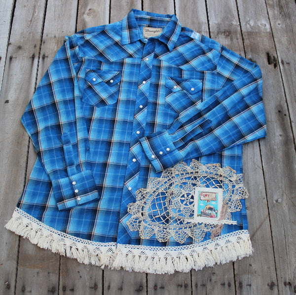 XL I Love Rust Blue Pearl Snap shirt with vintage doily, lace, and turquoise truck  JE341