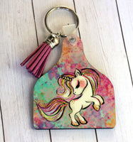 Cow Tag Key Chain or Air Freshener with unicorn and pastel watercolors