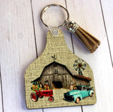 Cow Tag Key Chain or Air Freshener with farm and barn scene