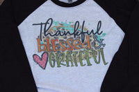 Thankful Blessed and Grateful Baseball Tee Graphic T Shirt