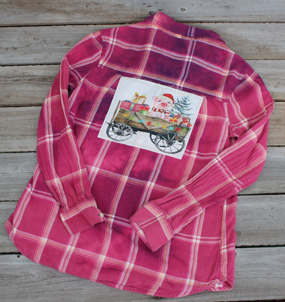 Youth Large, Christmas Pig in Wagon, Distressed Flannel Shirt JE364
