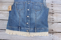 Small Denim Vest with  Lace Vest and Vintage Doily, Denim and Lace Sleeveless Top JE337