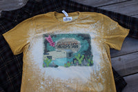 The Cactus Motor Inn Gold Bleached Tee Shirt with Vintage Camper, Cactus, Leopard Print