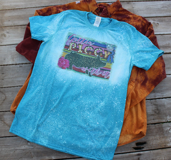 Gettin' Piggy with It Bleached Tee Shirt with leopard pig and serape print, blue ribbon show pig-Rust and Romance