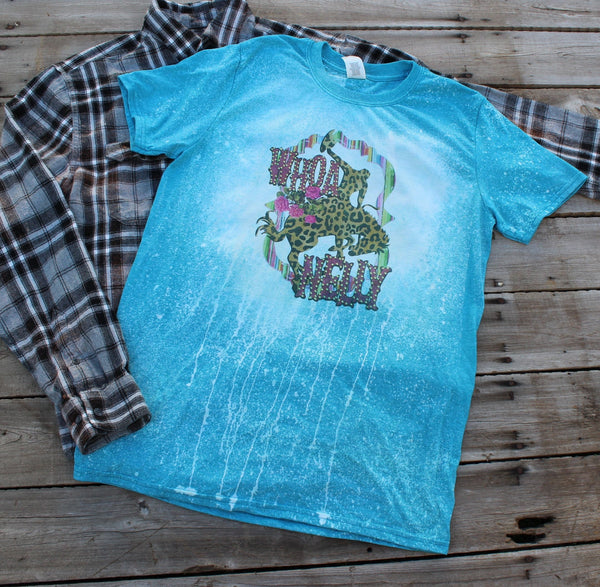 Whoa Nelly! Bleached tee shirt with leopard bronco and serape print, Cowboy, Rodeo,  Western T shirt