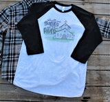 Shall We Gather at the River, baseball style t shirt with Old Country Church drawing-clothing-Gypsy Farm Girl