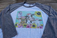 Graphic Tee Shirt with Farm Animals and Flowers on baseball style t shirt