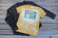 The Cactus Motor Inn Gold Bleached Tee Shirt with Vintage Camper, Cactus, Leopard Print-Rust and Romance