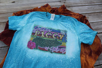 Gettin' Piggy with It Bleached Tee Shirt with leopard pig and serape print, blue ribbon show pig