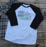 Shall We Gather at the River, baseball style t shirt with Old Country Church drawing
