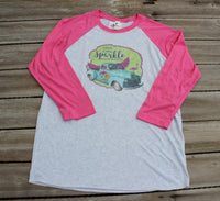 Leave a little sparkle wherever you go, t shirt with flamingo, truck, wings