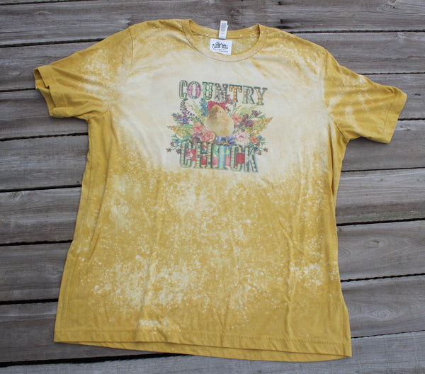 Country Chicks Mustard Gold Bleached Tee Shirt with baby chick with bandanna and spring flowers