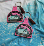 Just Keep Rolling  Key Chain with tassel, cow tag, ear tag shape key ring  with old blue car